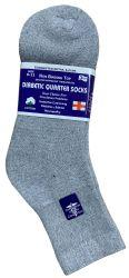 48 Units of Yacht & Smith Women's Diabetic Cotton Ankle Socks Soft NoN-Binding Comfort Socks Size 9-11 Gray - Women's Diabetic Socks