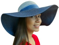 Yacht & Smith Floppy Stylish Sun Hats Bow And Leather Design, Style C - Navy - Sun Hats