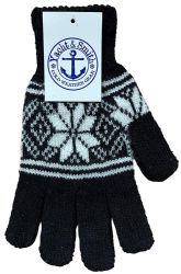 120 Units of Yacht & Smith Snowflake Print Mens Winter Gloves With Stretch Cuff - Knitted Stretch Gloves