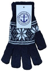 120 Units of Yacht & Smith Snowflake Print Womens Winter Gloves With Stretch Cuff - Knitted Stretch Gloves