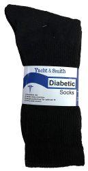 12 Bulk Yacht & Smith Men's Loose Fit NoN-Binding Cotton Diabetic Crew Socks Black King Size 13-16