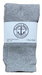 24 Units of Yacht & Smith Kids Gray Solid Tube Socks Size 4-6 - Boys Crew Sock