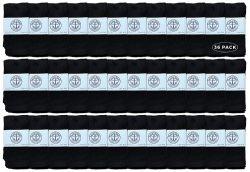 36 Units of Yacht & Smith Kids Black Solid Tube Socks Size 4-6 - Boys Crew Sock
