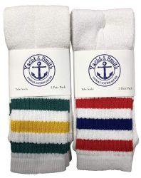 24 Units of Yacht & Smith Kids Cotton Tube Socks White With Stripes Size 4-6 - Boys Crew Sock