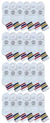24 Units of Yacht & Smith Men's Cotton Sport Ankle Socks Size 10-13 With Stripes - Mens Ankle Sock
