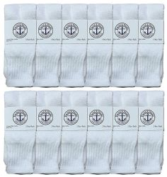 12 of Yacht & Smith Women's Cotton Tube Socks, Referee Style, Size 9-15 Solid White