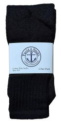 60 Units of Yacht & Smith Kids Solid Tube Socks Size 6-8 Black - Boys Crew Sock