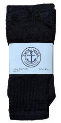 48 Units of Yacht & Smith Kids Solid Tube Socks Size 6-8 Black - Boys Crew Sock