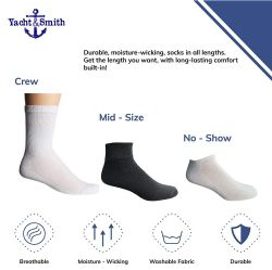 24 Units of Yacht & Smith Kids Cotton Quarter Ankle Socks In White Size 6-8 - Boys Ankle Sock