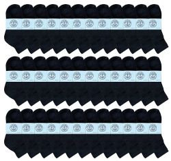 36 Units of Yacht & Smith Kids Cotton Quarter Ankle Socks In Black Size 6-8 - Boys Ankle Sock