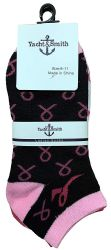 36 Units of Yacht & Smith Pink Ribbon Breast Cancer Awareness Ankle Socks For Women - Breast Cancer Awareness Socks