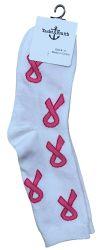 60 Units of Pink Ribbon Breast Cancer Awareness Crew Socks For Women Bulk Pack - Breast Cancer Awareness Socks