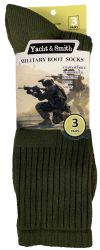 24 Units of Yacht & Smith Military Grade Wick Dry Crew Socks ,heavy Duty Boot Sock, Army Green - Mens Crew Socks