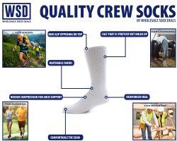 6 Bulk Yacht & Smith Men's Cotton Diabetic Crew Socks Loose Fit NoN-Binding White King Size 13-16