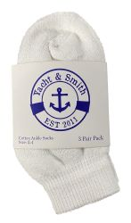 12 Units of Yacht & Smith Kids Value Pack Of Cotton Ankle Socks Size 2-4 White - Boys Ankle Sock