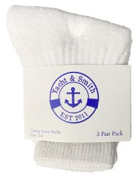 72 Units of Yacht & Smith Kids Value Pack Of Cotton Crew Socks Size 2-4 White - Boys Crew Sock