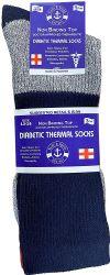 6 Bulk Yacht & Smith Thermal Diabetic Crew Socks For Men, Marled, Ringspun Cotton, Seamless Toe, Loose Top King Size