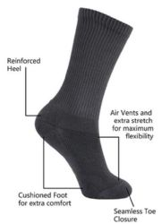 12 Units of Yacht & Smith King Size Men's Crew Socks Cotton Terry Cushioned Solid Black Size 13-16 - Big And Tall Mens Crew Socks