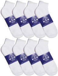 24 Bulk Yacht & Smith Mens Cotton White Sport Ankle Socks, Sock Size 10-13