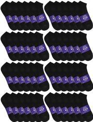 120 Bulk Yacht & Smith Mens Cotton Black No Show Ankle Socks, Sock Size 10-13