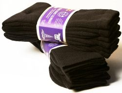 48 Bulk Yacht & Smith Men's King Size Loose Fit Non-Binding Cotton Diabetic Crew Socks (Brown King Size 13-16)