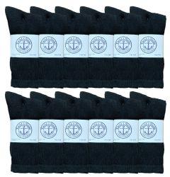 24 Wholesale Yacht & Smith Mens Soft Cotton Athletic Crew Socks, Terry Cushion, Sock Size 10-13 Black