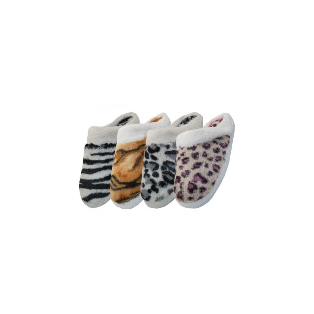 Wholesale Footwear Women's Animal Print Velour With Fur Cuff