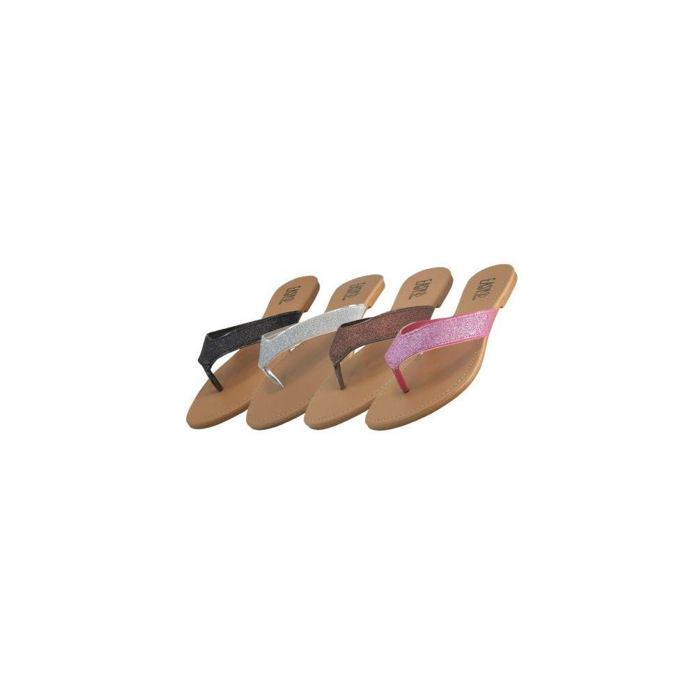 Wholesale Footwear Women's Glitter Flip Flops