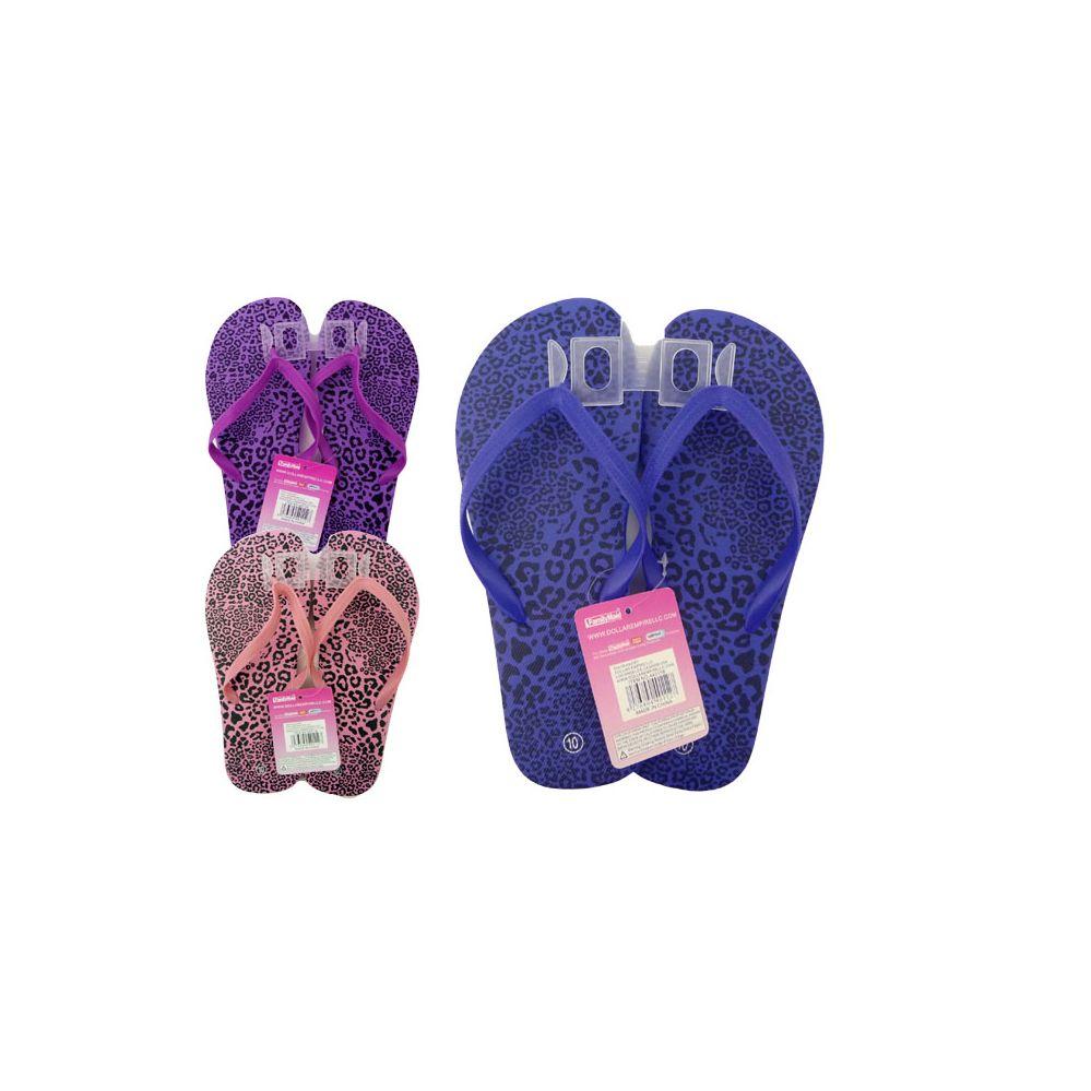 Wholesale Footwear Woman's Cheetah Print Flip Flops