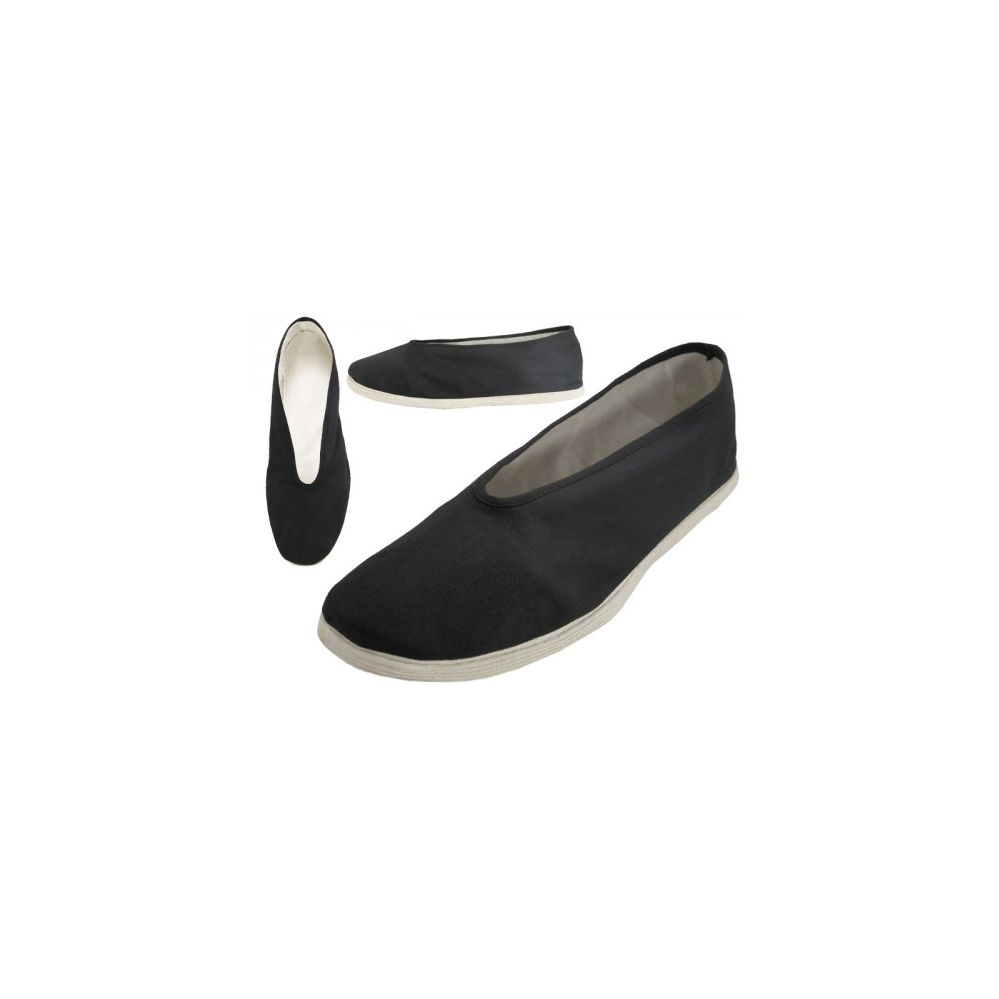 Wholesale Footwear Men's Slip On V-Top Cotton Upper & White Cotton Out Sole Kung Fu/tai Chi Shoes