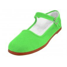 Wholesale Footwear Women's Classic Cotton Mary Jane Shoes Green Color Only