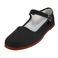 Wholesale Footwear Women's Canvas Classic Mary Janes Black Color Only