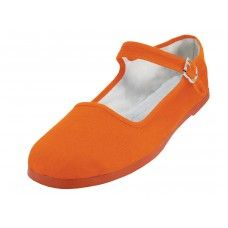 Wholesale Footwear Women's Canvas Classic Mary Janes Shoe Orange Color Only