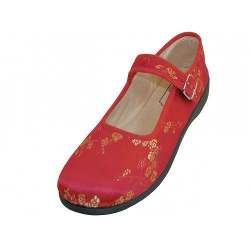 Wholesale Footwear Women's Satin Brocade Plum Flower Upper Mary Janes Shoe Red Color)