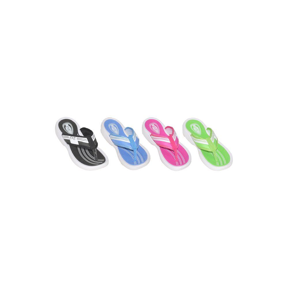 Wholesale Footwear Ladies Assorted Sporty Wedge Flip Flops