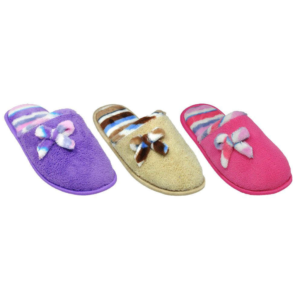 Wholesale Footwear Ladies Plush House Slipper With Bow