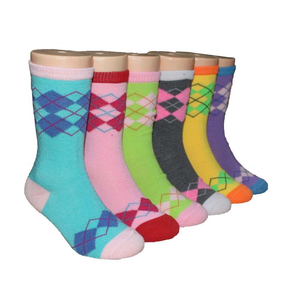 480 Bulk Girls Argyle Crew Socks