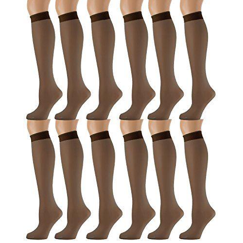 12 Bulk Yacht & Smith Trouser Socks For Women, 20 Denier Knee High Dress Socks French Coffee