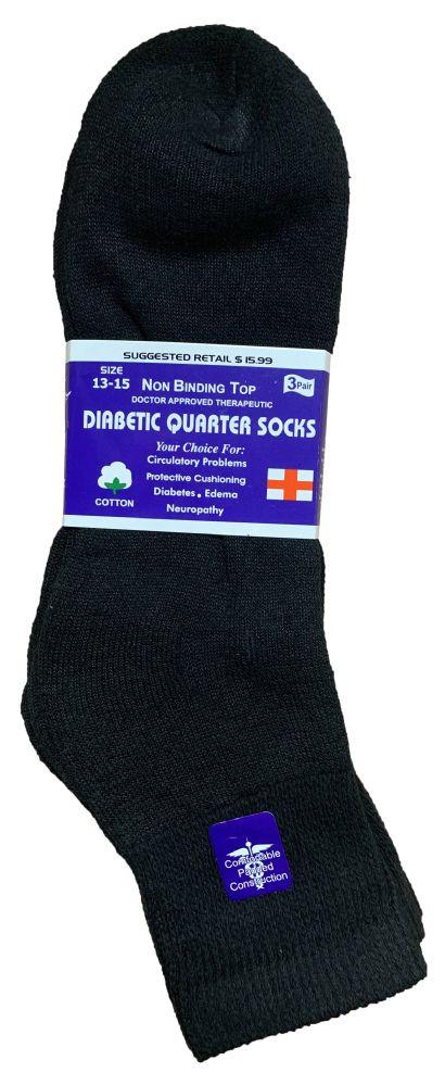6 Bulk Yacht & Smith Men's Loose Fit NoN-Binding Soft Cotton Diabetic Quarter Ankle Socks,size 10-13 Black