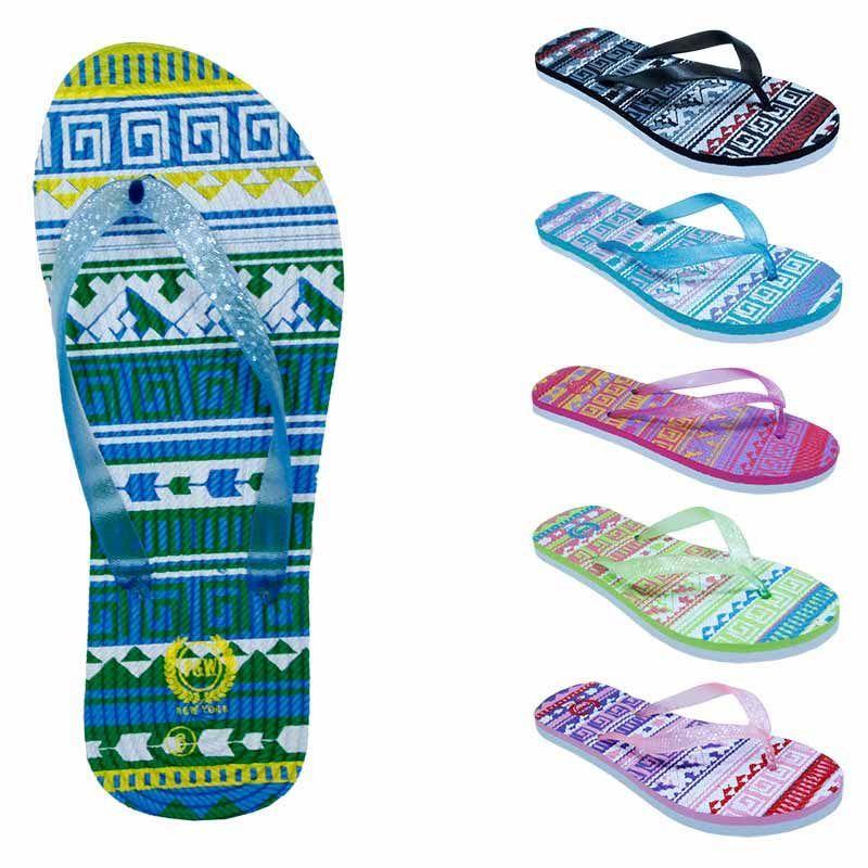 Wholesale Footwear Women's Flip Flops With/ Dual Layer Heel & Sparkle Straps - Tribal Print
