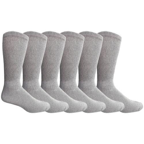 6 Bulk Yacht & Smith Men's NoN-Binding Cotton Diabetic Loose Fit Crew Socks Gray King Size 13-16