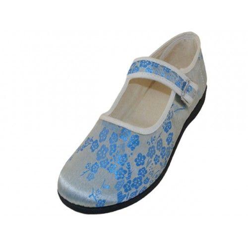 Wholesale Footwear Women's Satin Brocade Plum Flower Upper Mary Janes Shoe Light Blue Color