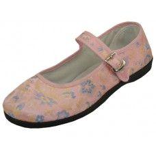 Wholesale Footwear Women's Satin Brocade Upper Mary Janes Shoe
