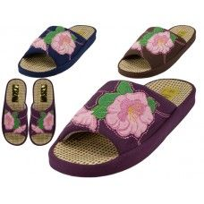 Wholesale Footwear Women's Satin Flower Embroidery Upper Open Toe House Slippers