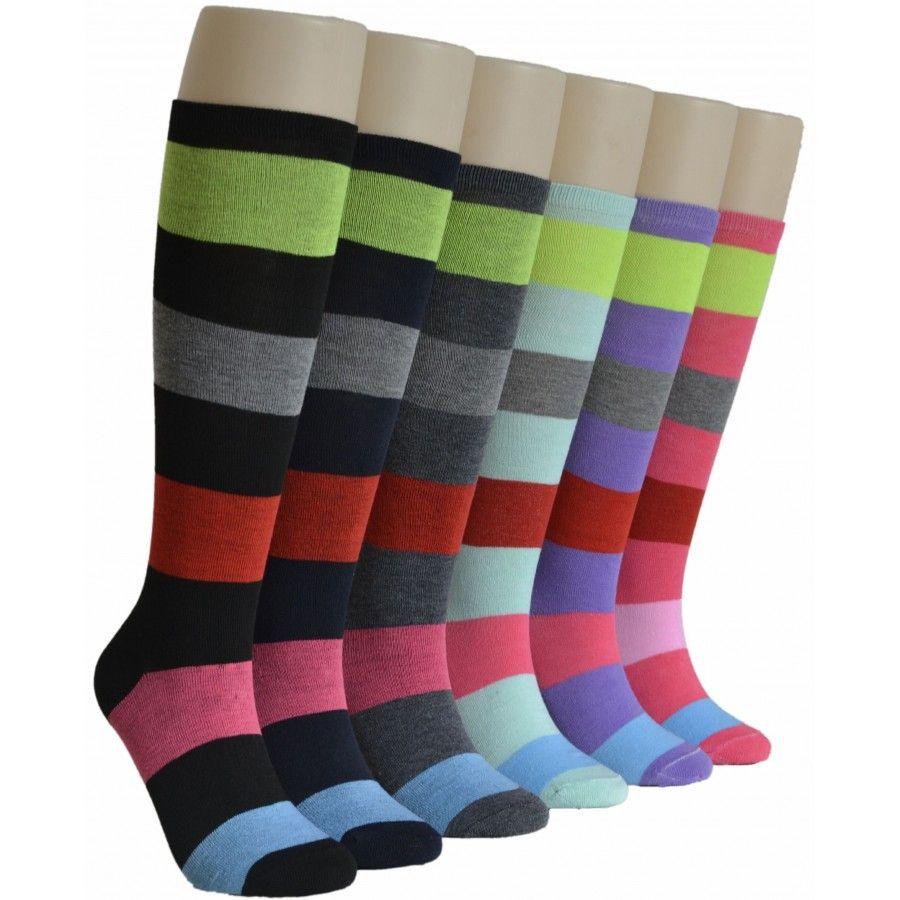 240 Bulk Ladies Wide Stripes Knee High Socks