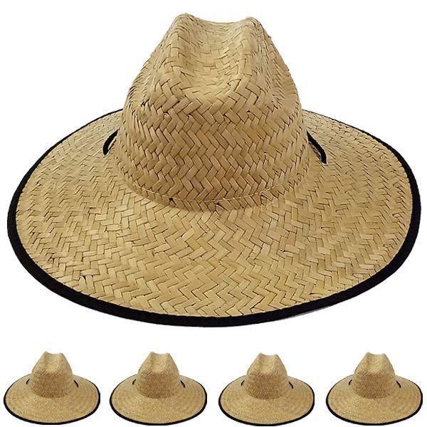 12 Wholesale Adults Large Black Brim Straw Hat