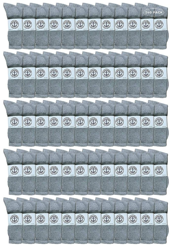 240 of Yacht & Smith King Size Men's Cotton Terry Cushion Crew Socks Size 13-16 Gray