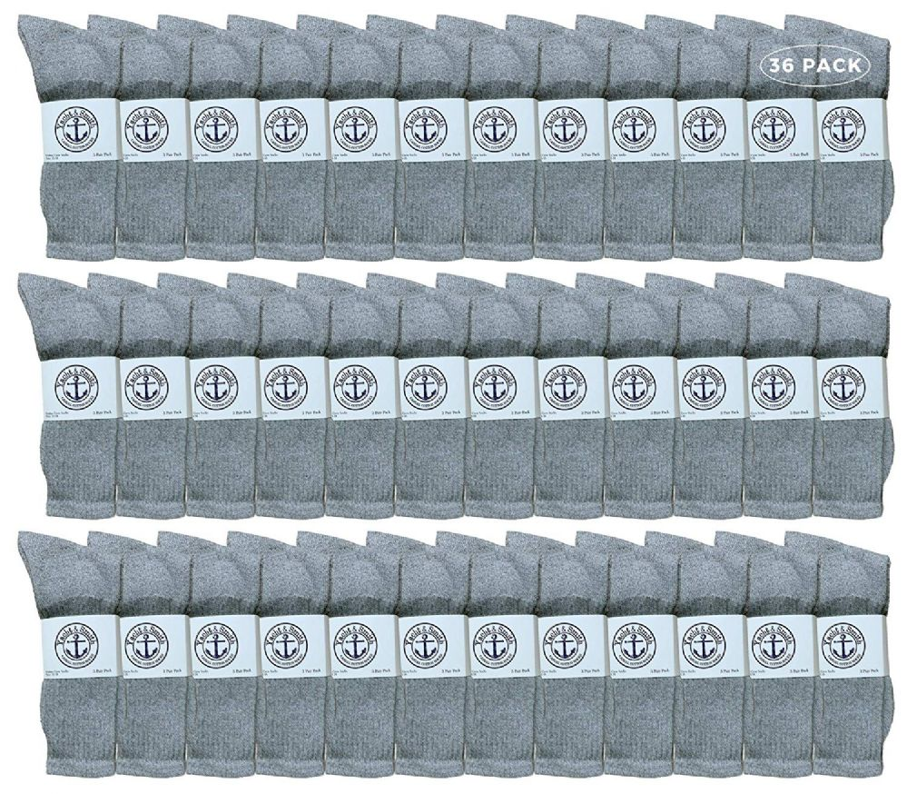 36 of Yacht & Smith King Size Men's Cotton Terry Cushion Crew Socks Size 13-16 Gray