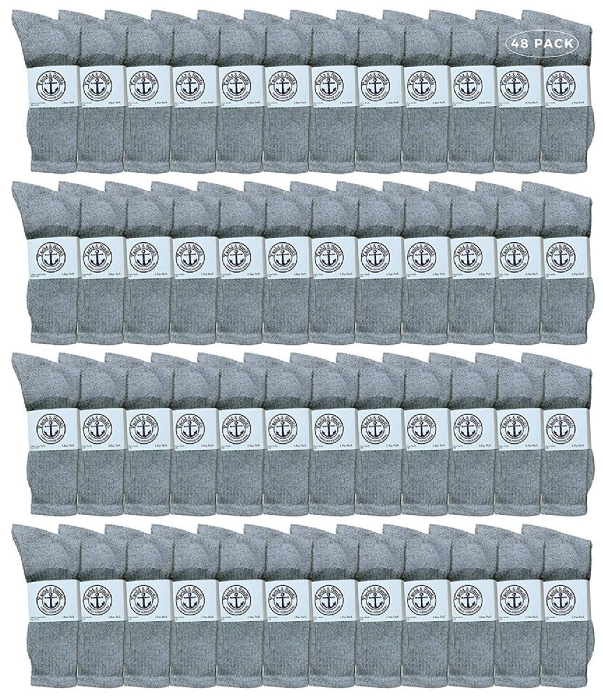 48 of Yacht & Smith King Size Men's Cotton Terry Cushion Crew Socks Size 13-16 Gray
