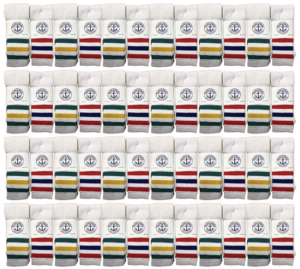 48 of Yacht & Smith Kids Cotton Tube Socks White With Stripes Size 4-6